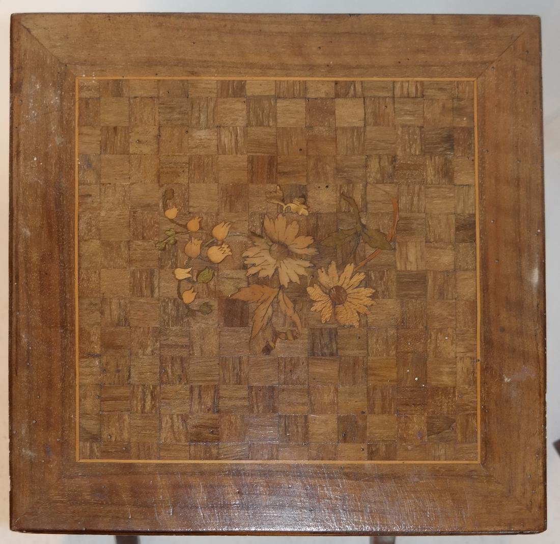 Nest of Three Parquetry and Floral Inlaid Tables - 3