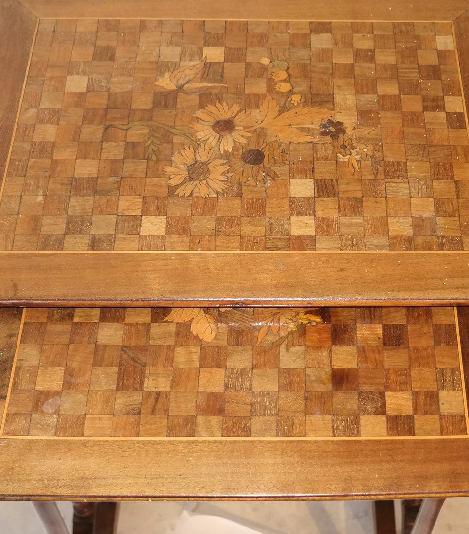 Nest of Three Parquetry and Floral Inlaid Tables - 4