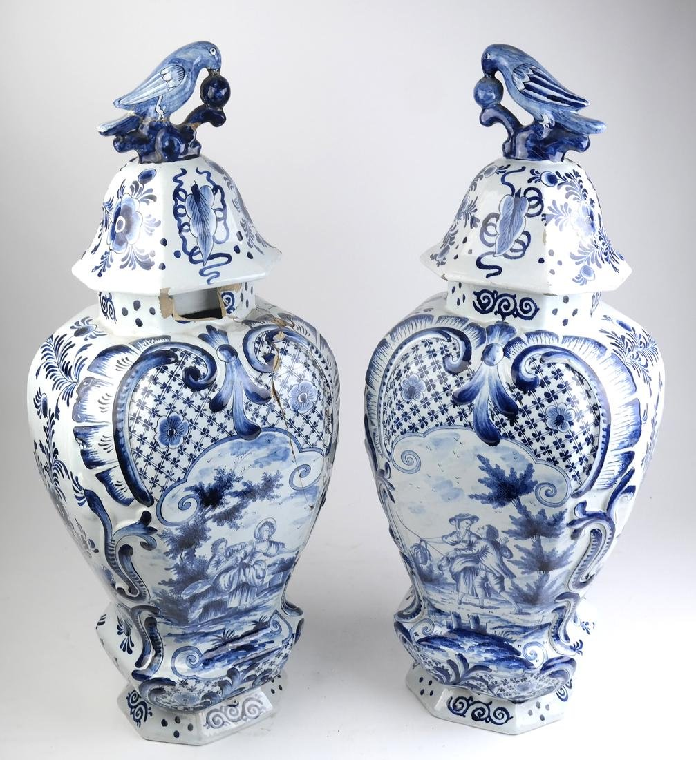 """Pair of Delft-Style """"as is"""" Covered Vases"""