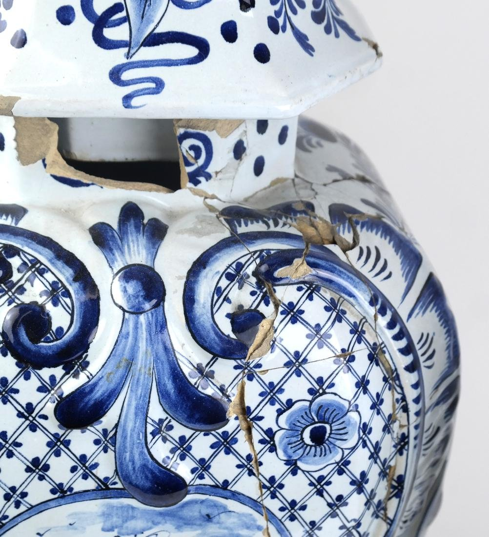 """Pair of Delft-Style """"as is"""" Covered Vases - 3"""