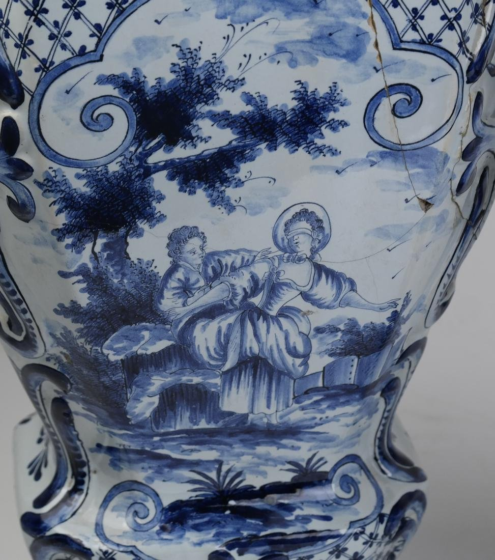 """Pair of Delft-Style """"as is"""" Covered Vases - 4"""