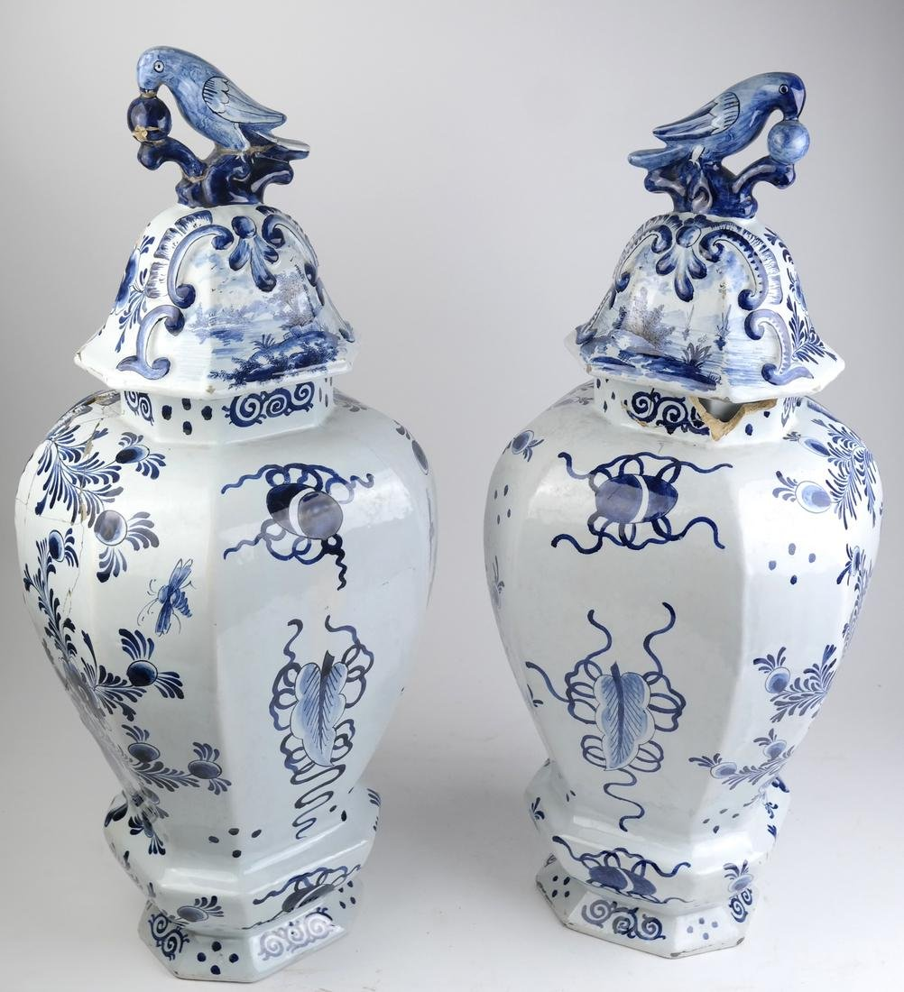 """Pair of Delft-Style """"as is"""" Covered Vases - 6"""