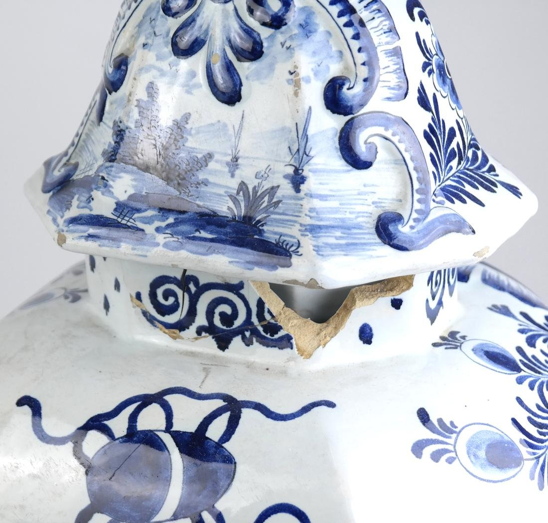 """Pair of Delft-Style """"as is"""" Covered Vases - 7"""