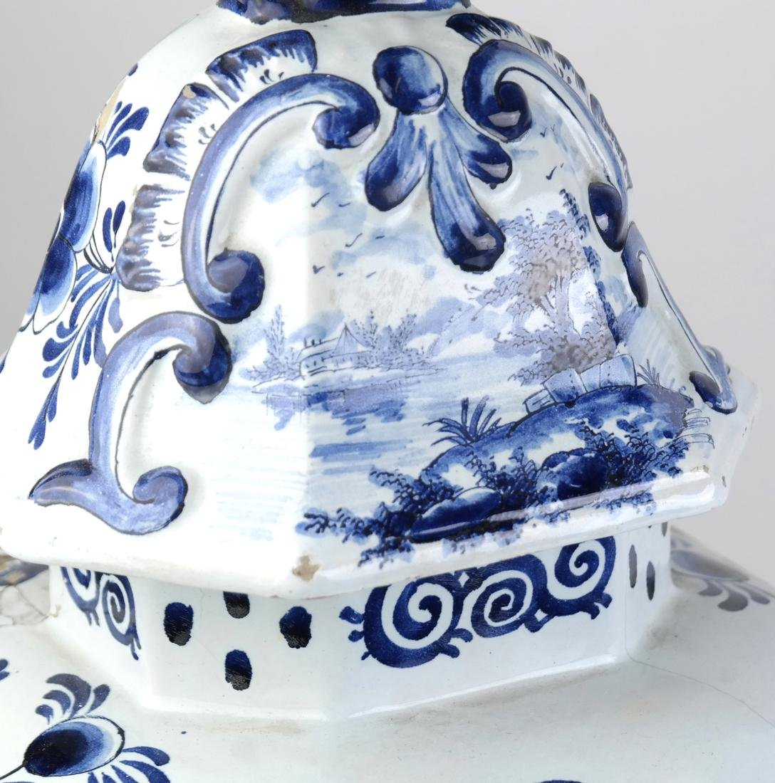 """Pair of Delft-Style """"as is"""" Covered Vases - 8"""