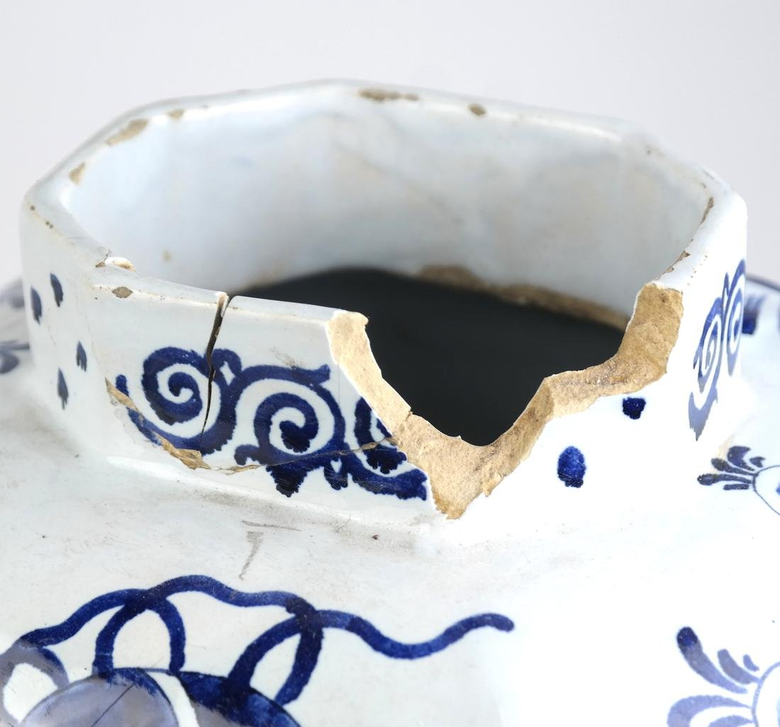 """Pair of Delft-Style """"as is"""" Covered Vases - 9"""