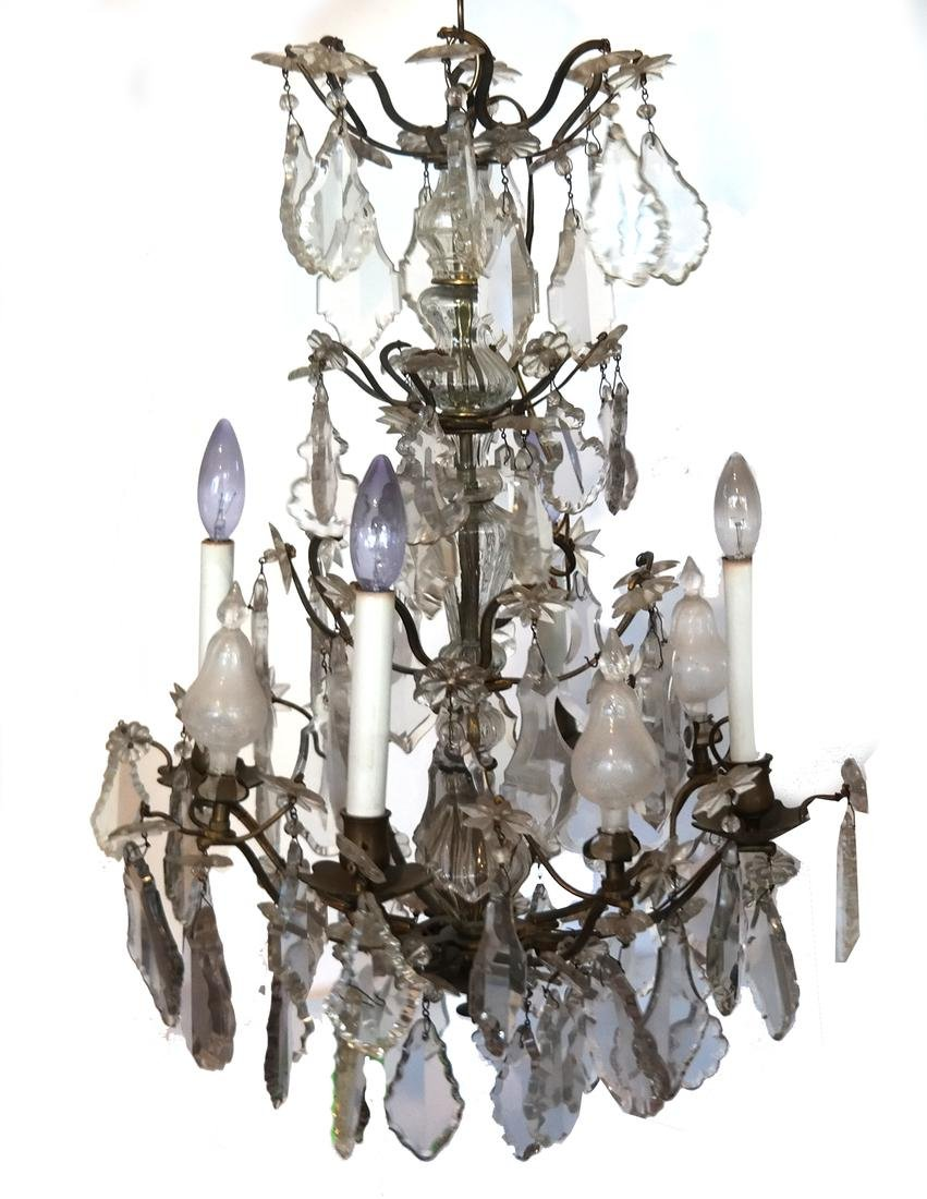 Fine Crystal and Brass Chandelier