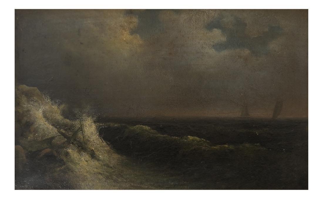 Oil on Panel, Stormy Seas