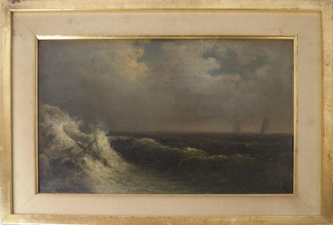 Oil on Panel, Stormy Seas - 2