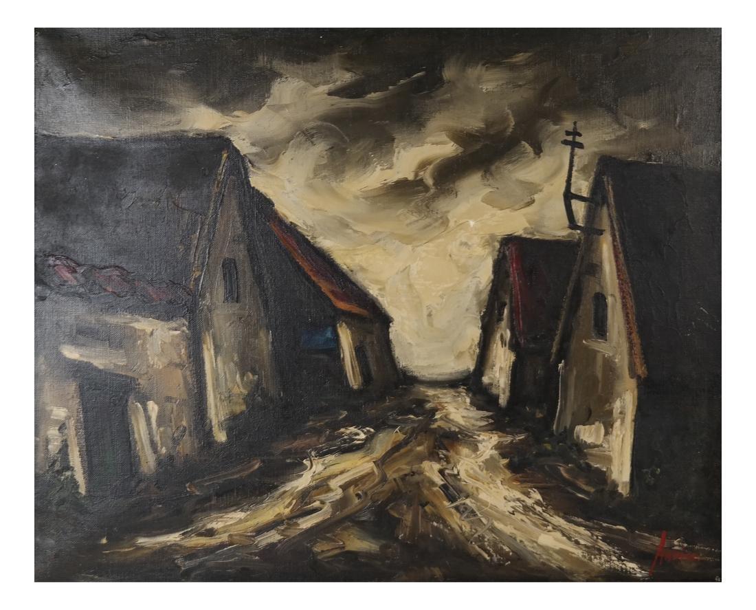 Ardiss, Village Scene - Acrylic on Canvas