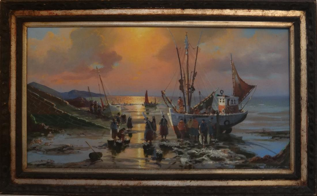 """Oil on Canvas """"Seascape"""" In Carved Giltwood Frame - 2"""
