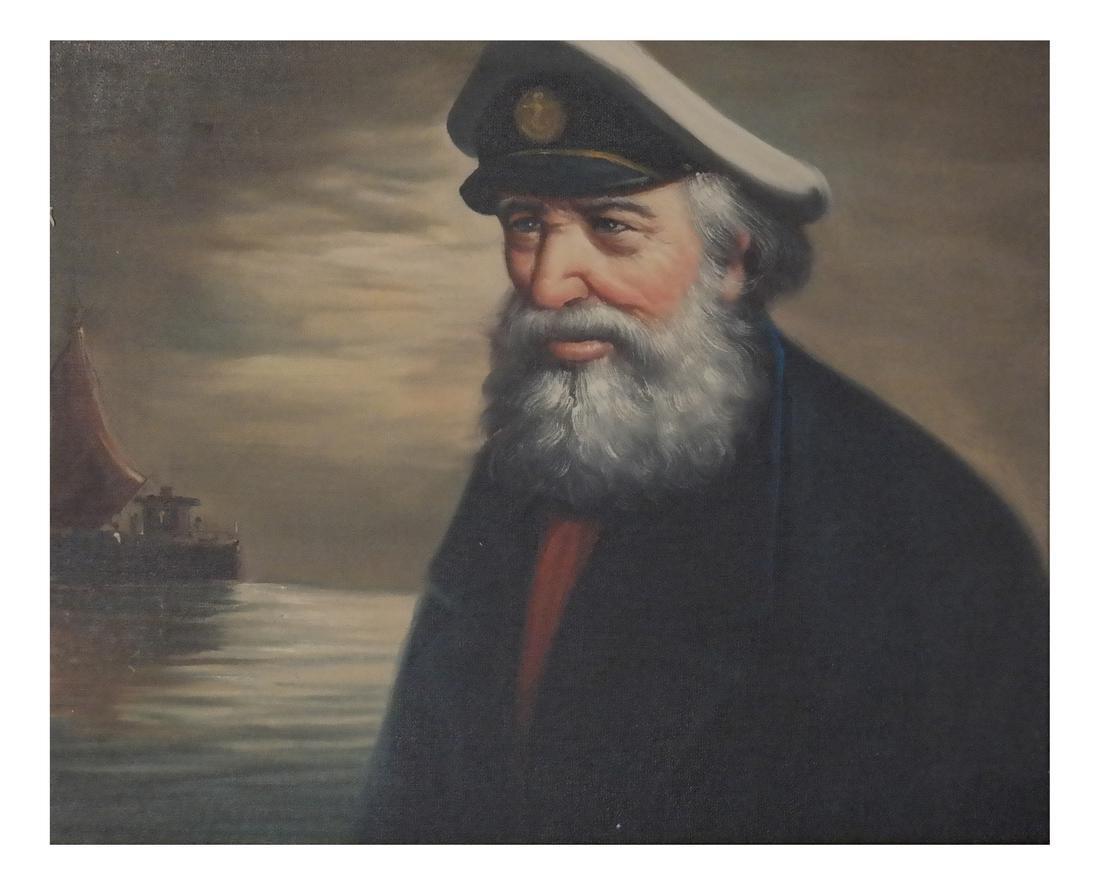 Acrylic on Canvas - A Sea Captain - Carved Wood Frame