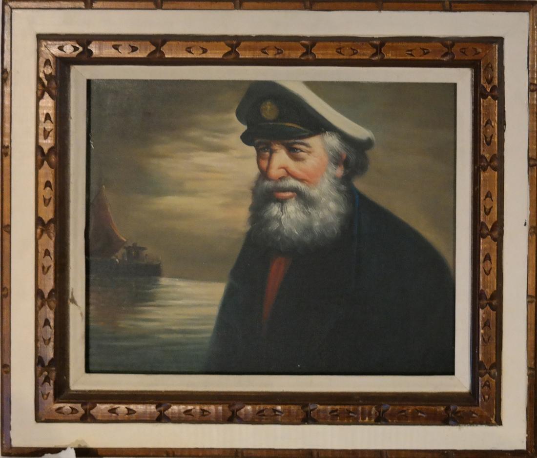 Acrylic on Canvas - A Sea Captain - Carved Wood Frame - 2