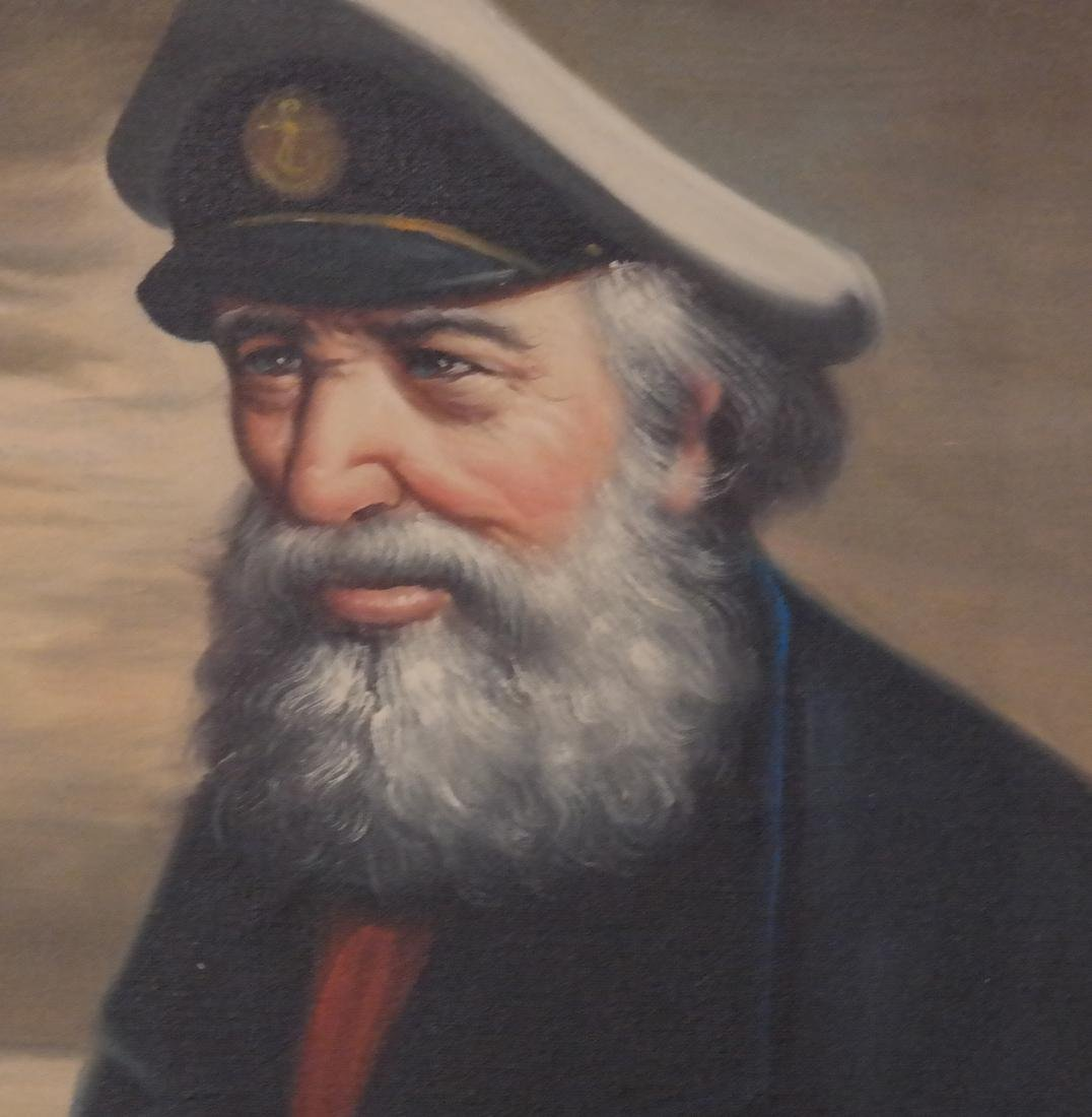Acrylic on Canvas - A Sea Captain - Carved Wood Frame - 3