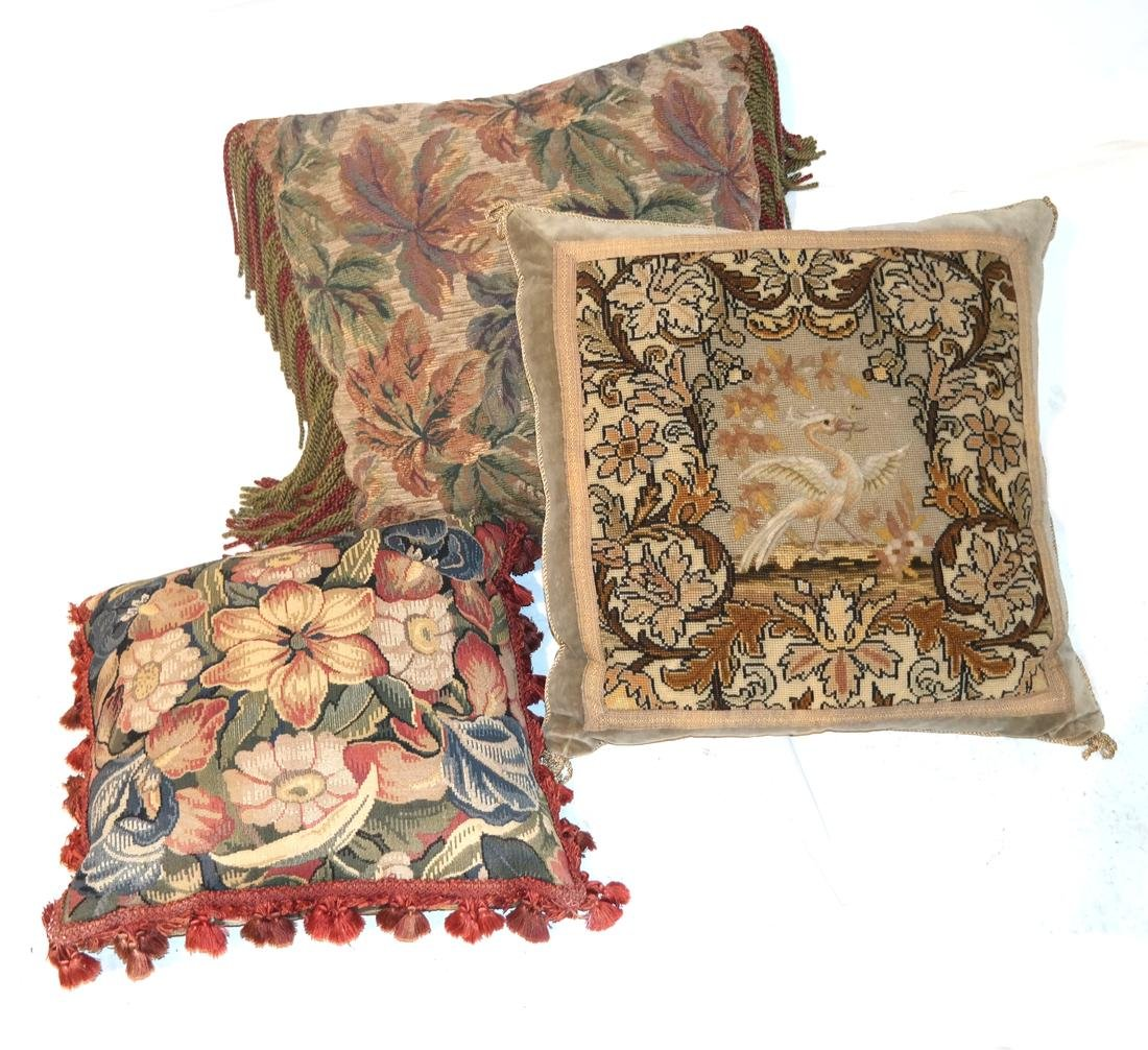 3 Upholstered Pillows - Tapestry, Brocade, Needlepoint