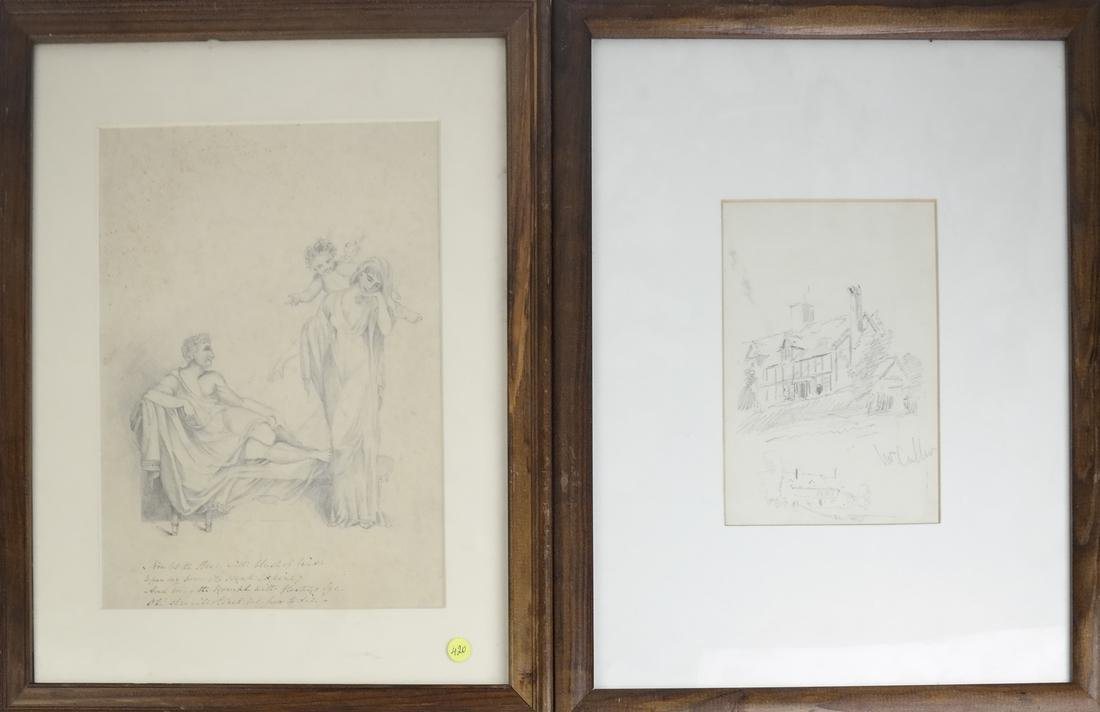 Two Framed Drawings, Graphite On Paper
