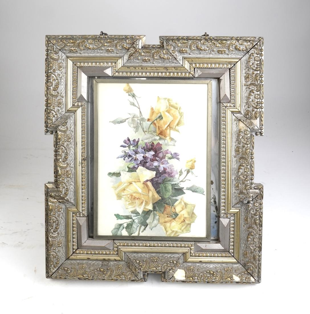 Victorian Convertible Tabletop Mirror and Print