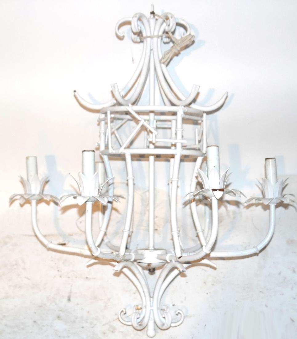 Chinoiserie White Tole 6-Light Chandelier