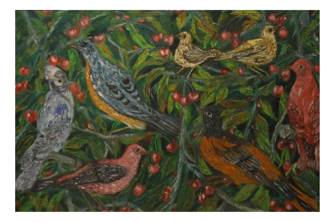 Flowers and Birds, Oil on Artist's Board