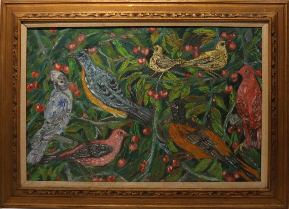 Flowers and Birds, Oil on Artist's Board - 2
