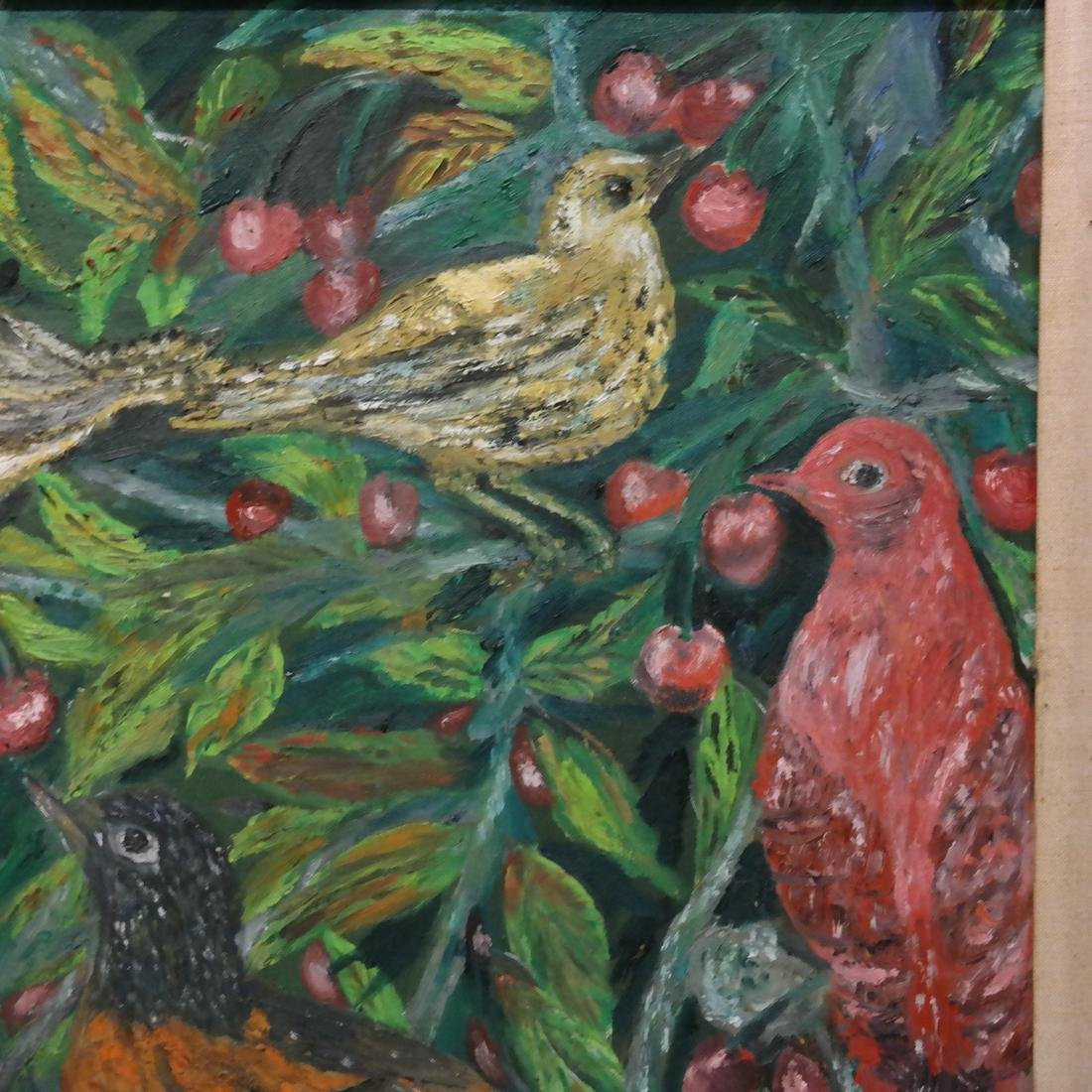 Flowers and Birds, Oil on Artist's Board - 3