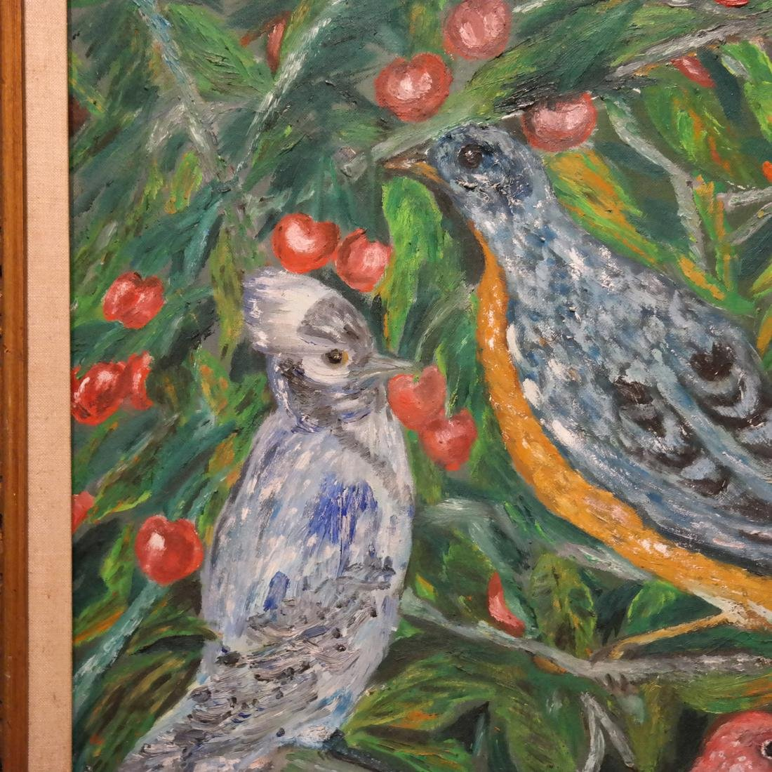 Flowers and Birds, Oil on Artist's Board - 5