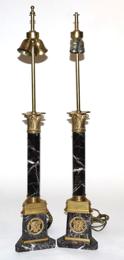 Pair of Marble and Bronze Column Lamps