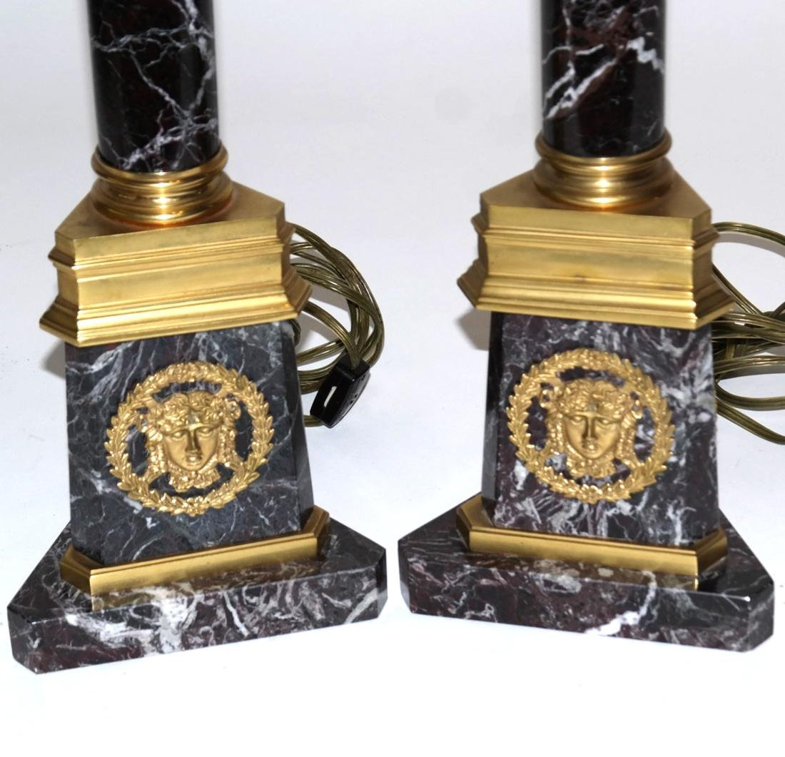 Pair of Marble and Bronze Column Lamps - 2