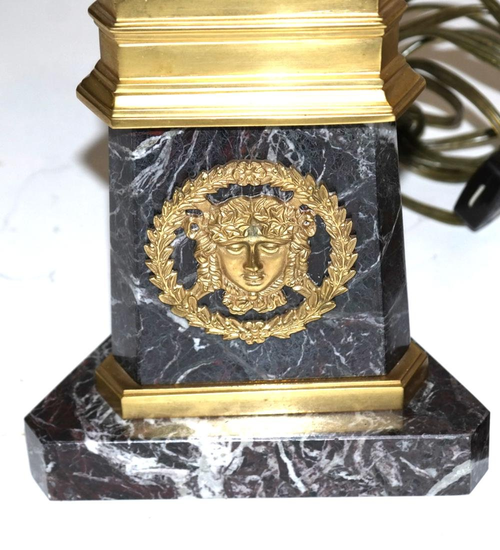 Pair of Marble and Bronze Column Lamps - 3