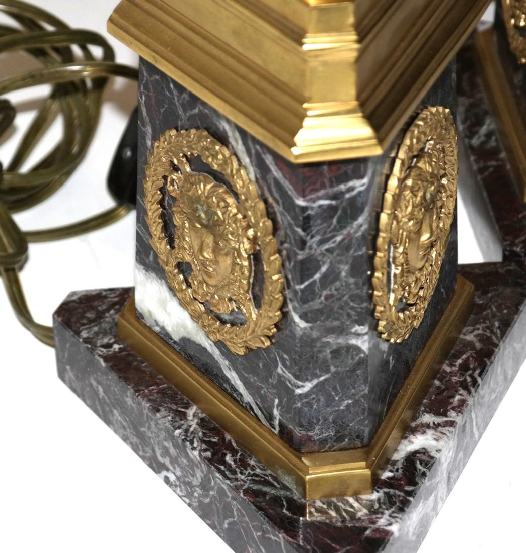 Pair of Marble and Bronze Column Lamps - 6