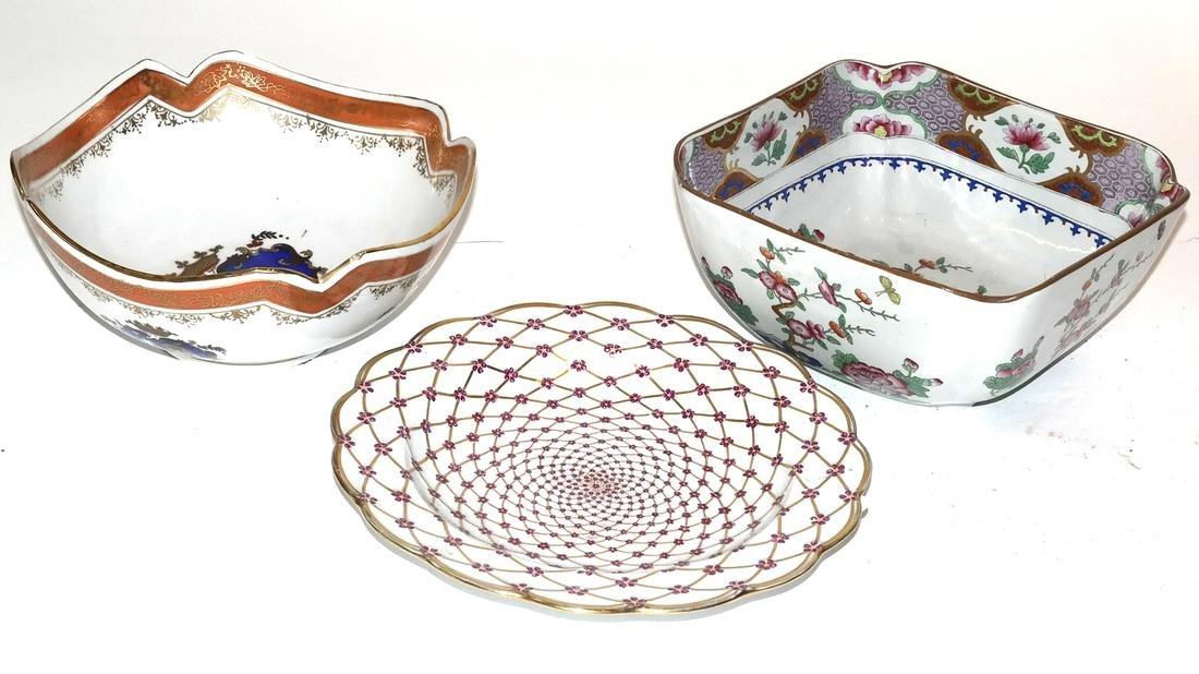 Porcelain Bowls (2) and Plate