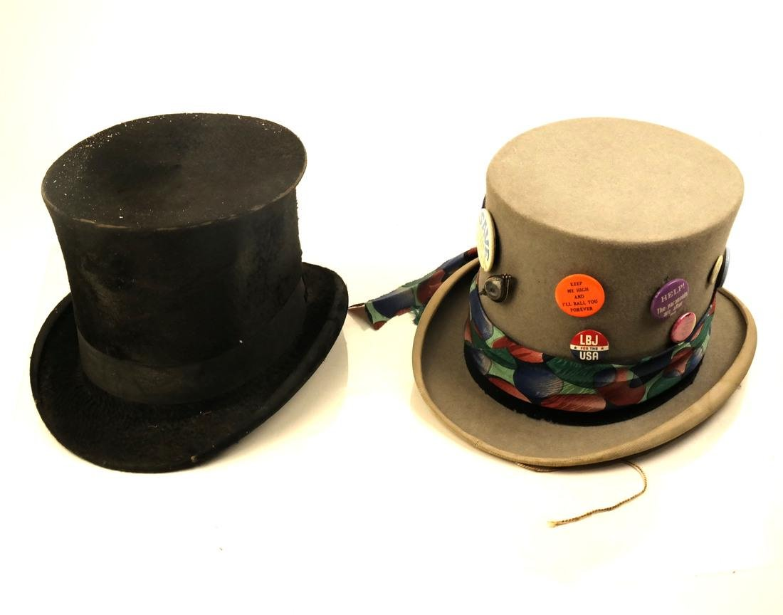 Two Vintage Top Hats and Buttons