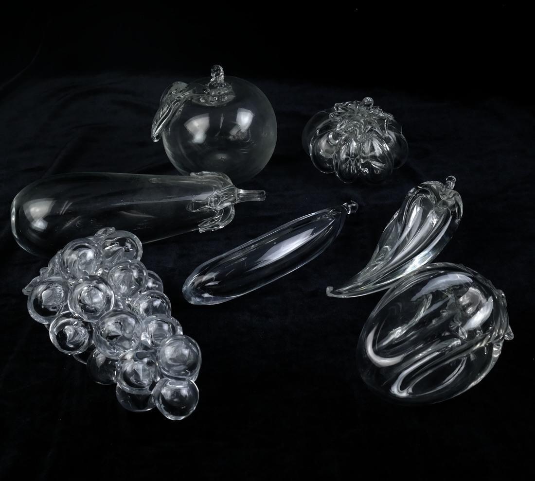 Seven Clear Fruit Sculptures