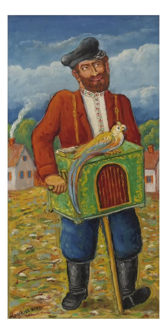 """Maurice Kish, """"Organ Grinder With Parrot"""""""