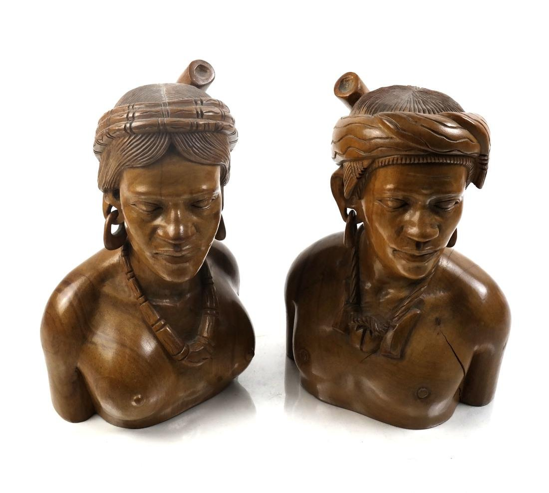 Pair of Ethnic Wood Busts