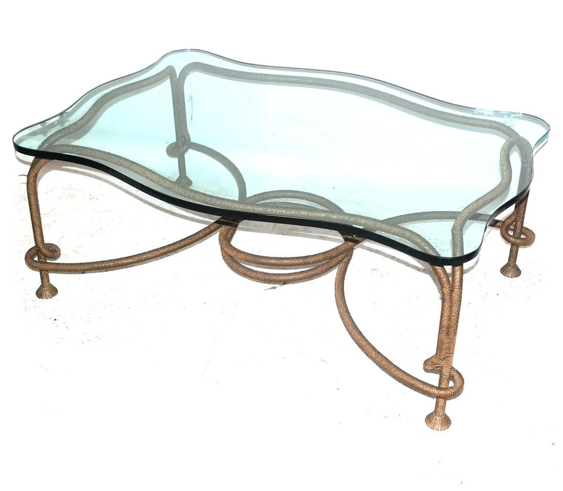 Modern Snake-Form Glass Top Cocktail Table