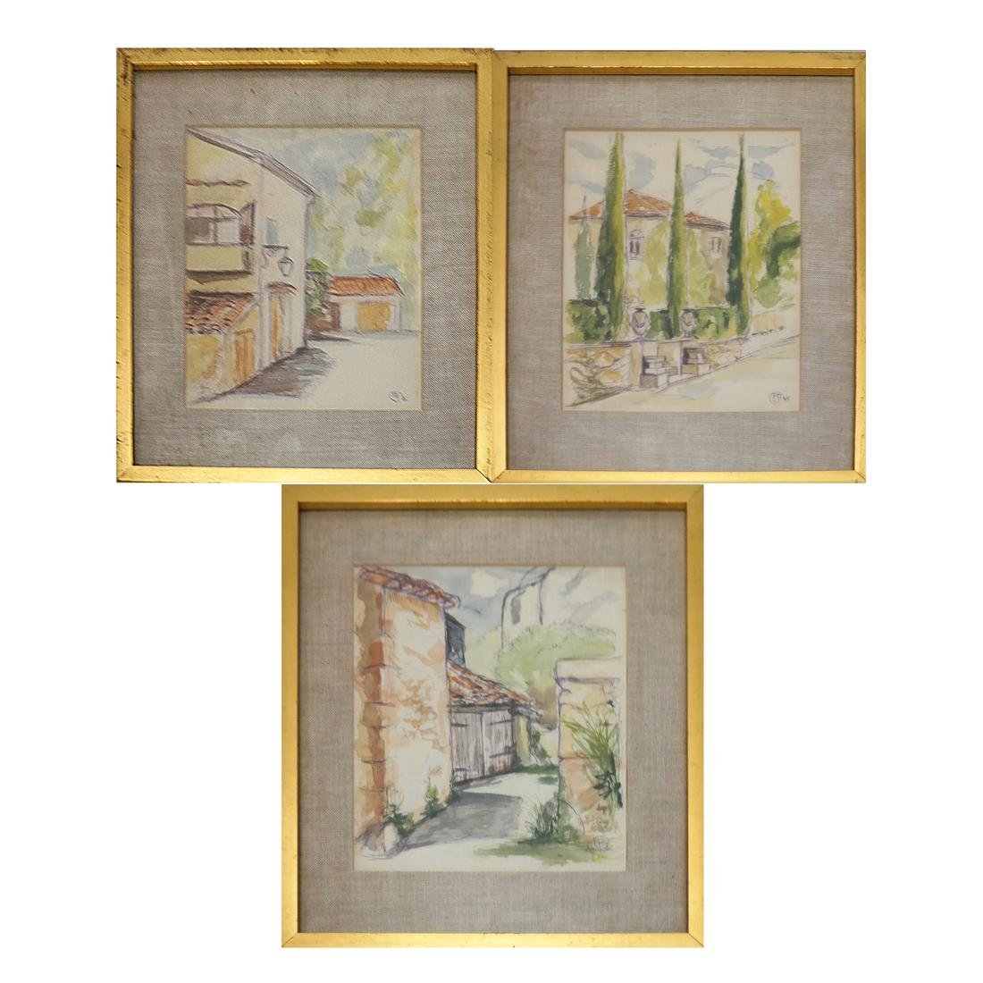 Three Village Scenes - Initialed Watercolors