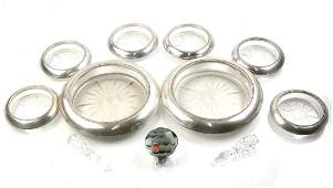 8 Pieces Sterling Rim Coasters