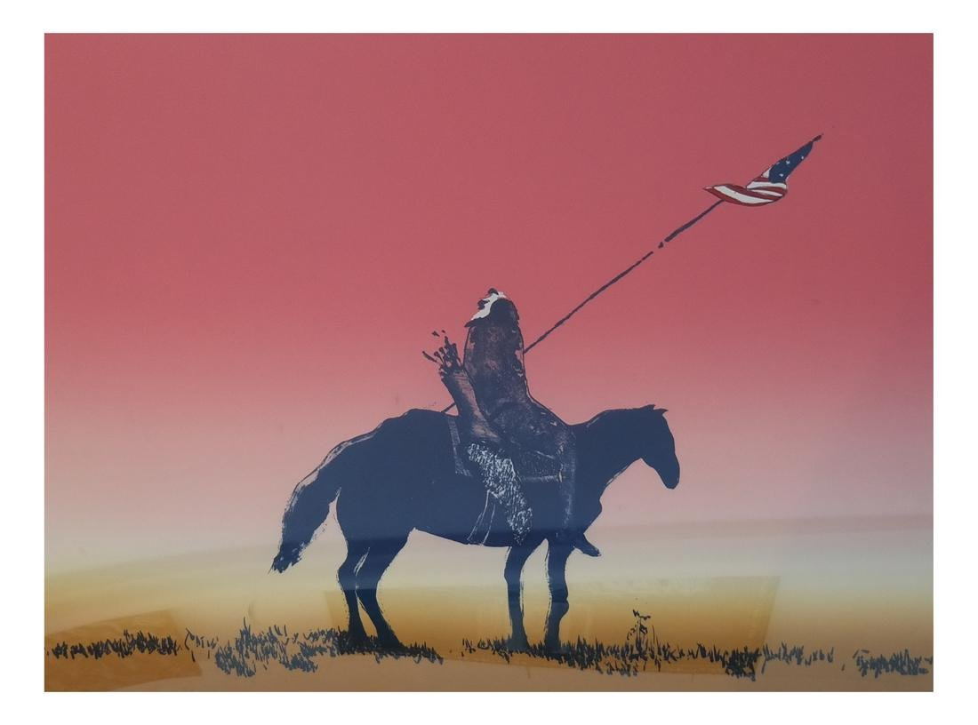 Fritz Scholder (American, 1937-2005), Indian With Flag