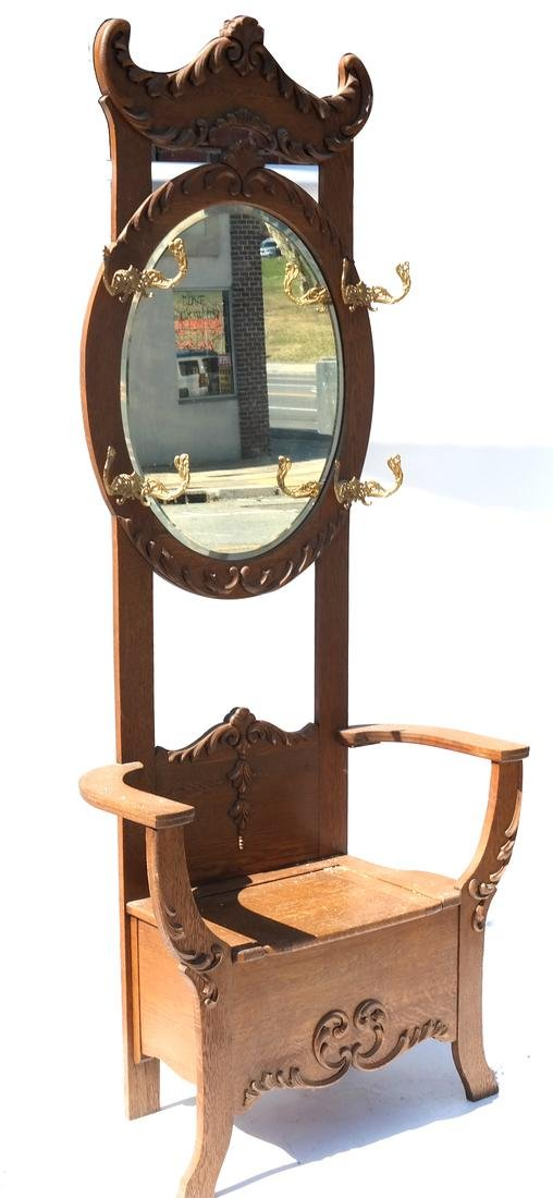 Antique Oak Hall Coat Seat