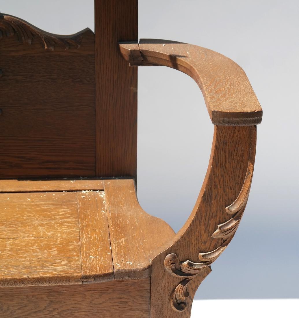 Antique Oak Hall Coat Seat - 2