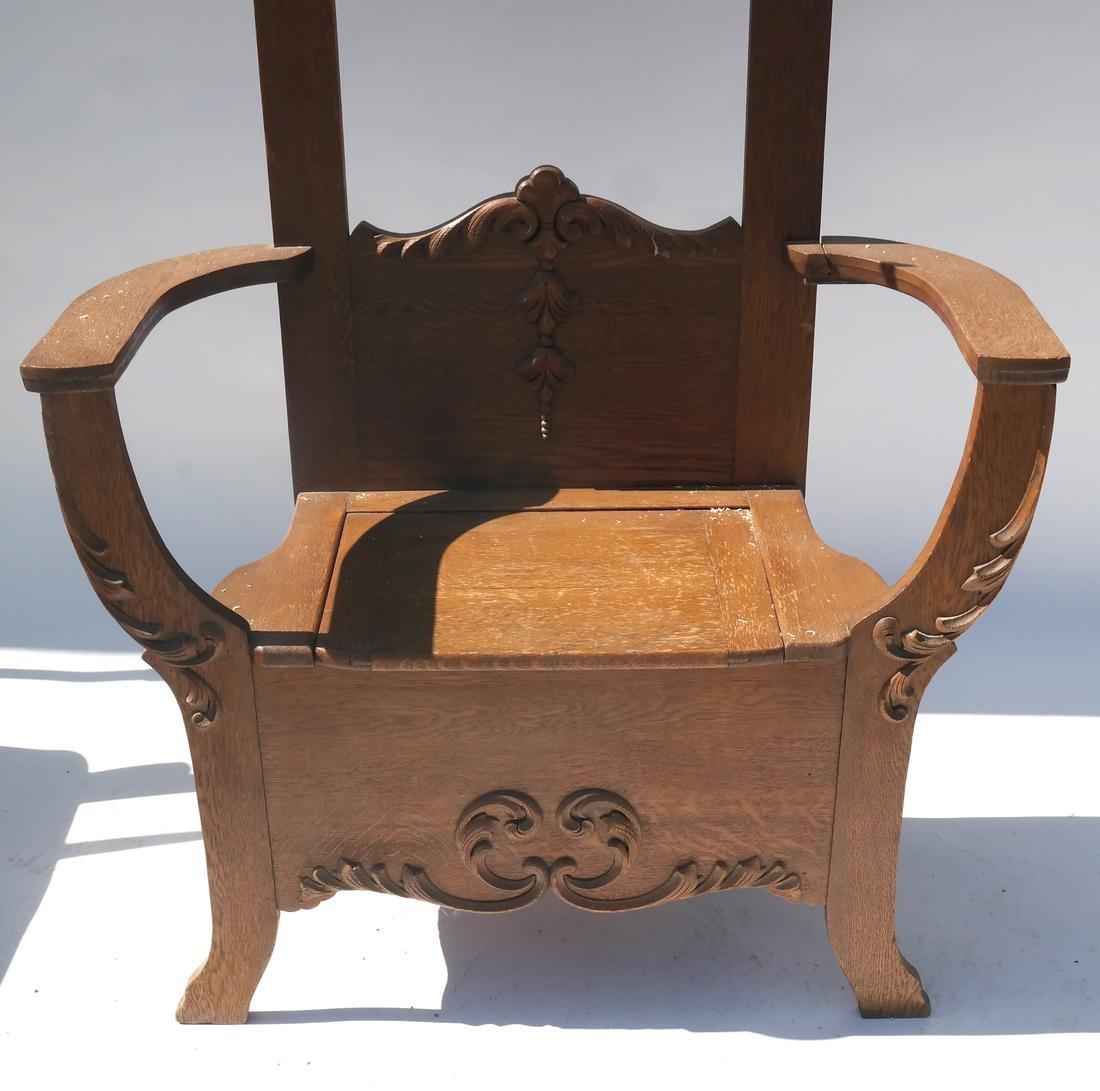 Antique Oak Hall Coat Seat - 3
