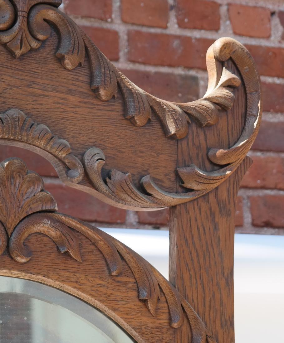 Antique Oak Hall Coat Seat - 5