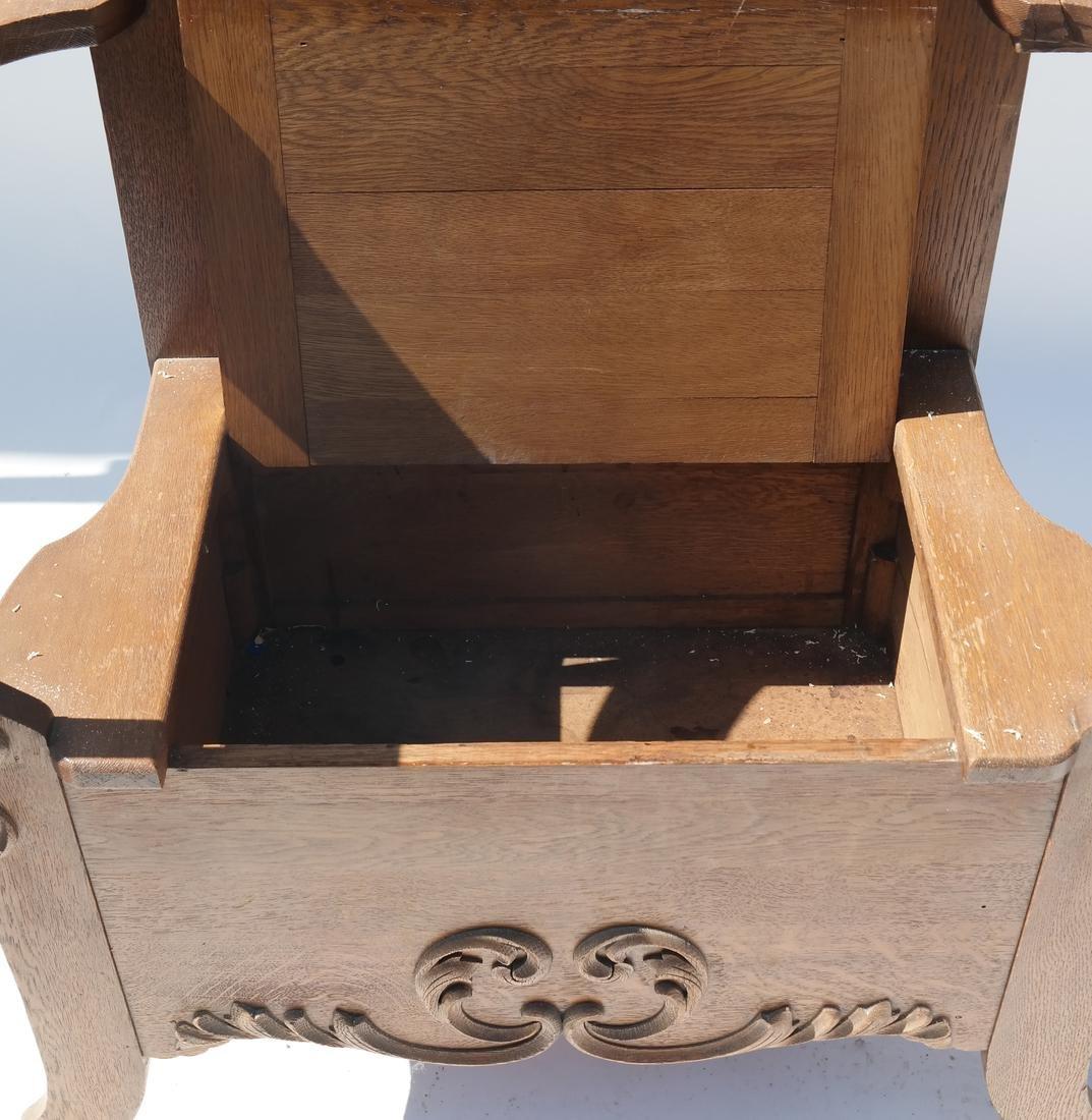 Antique Oak Hall Coat Seat - 6
