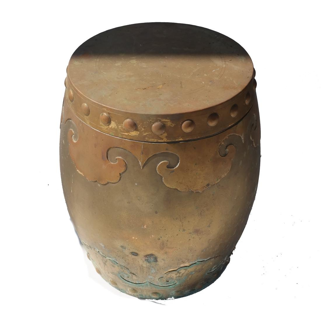 Brass Covered Barrel-Form Relief Box