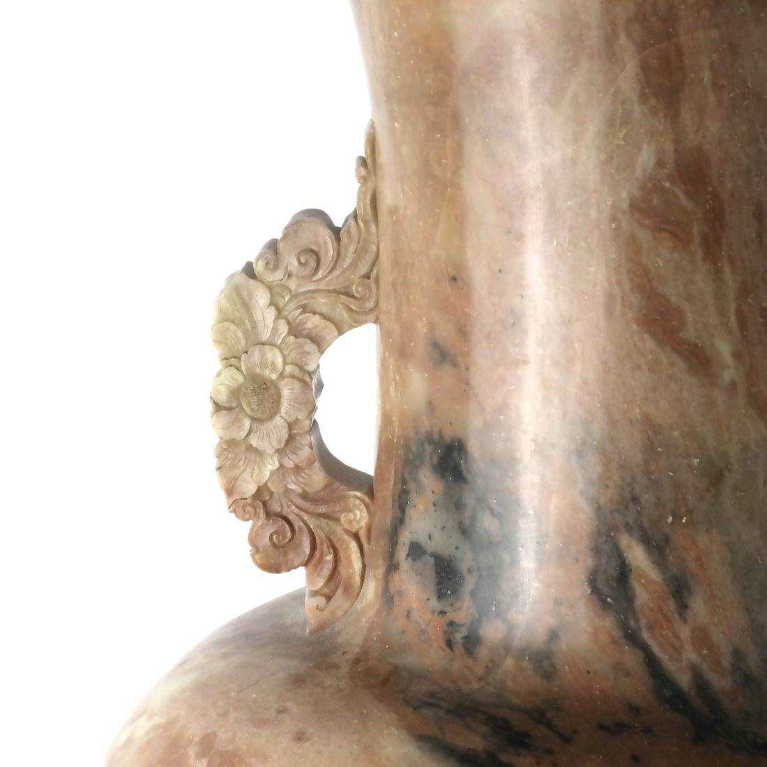 Chinese Large Carved Hardstone Vase and Stand - 3