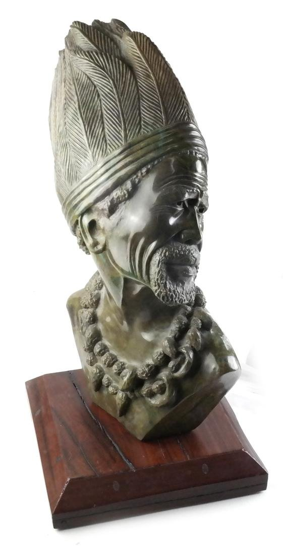 James Tandi, Carved Hardstone Bust of Tribal Man