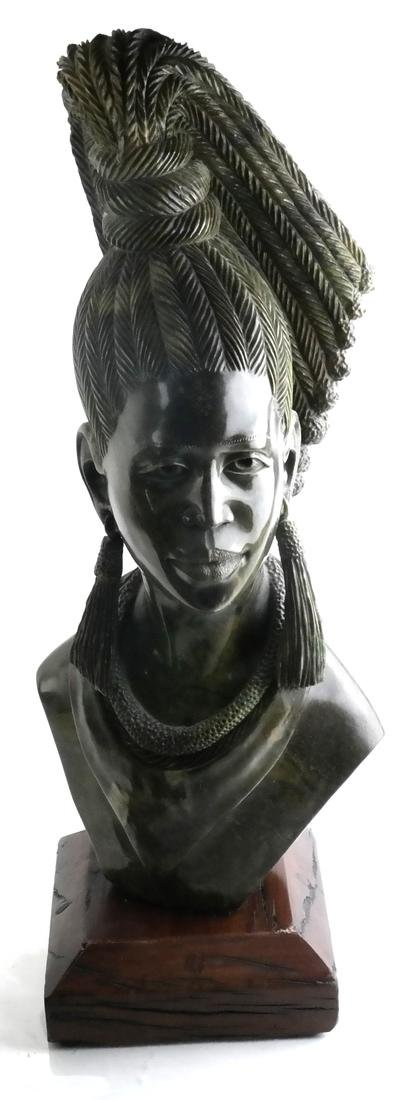 James Tandi, Carved Hardstone Bust of Tribal Woman