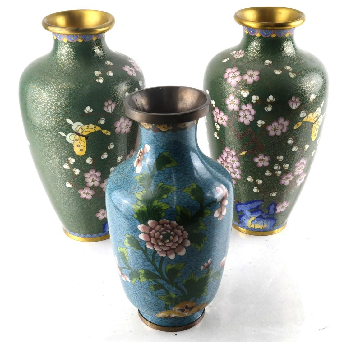 Three Enamel Vases and Pair of Japanese Cloisonne Vases