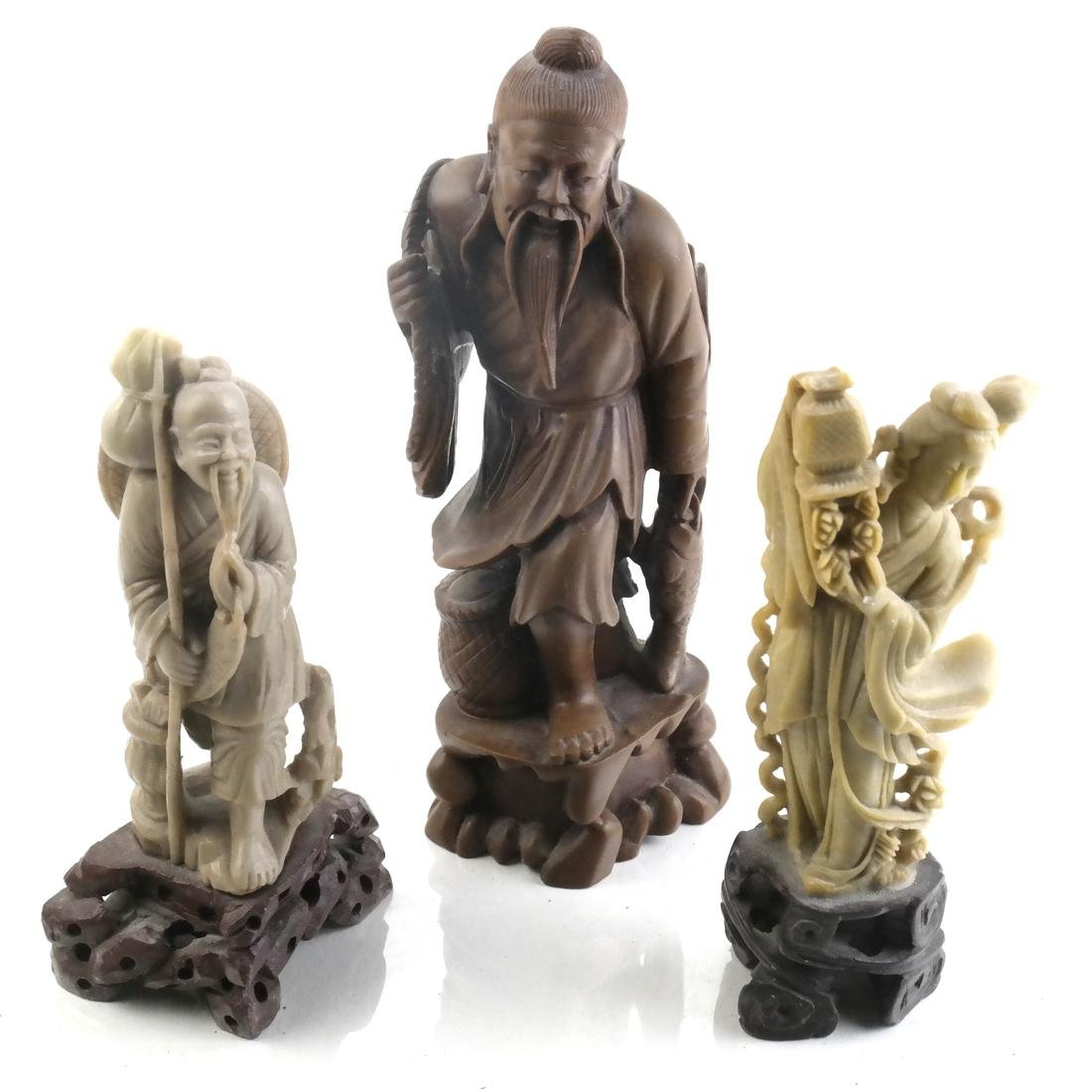 Chinese Carved Soapstone and Hardstone Figures