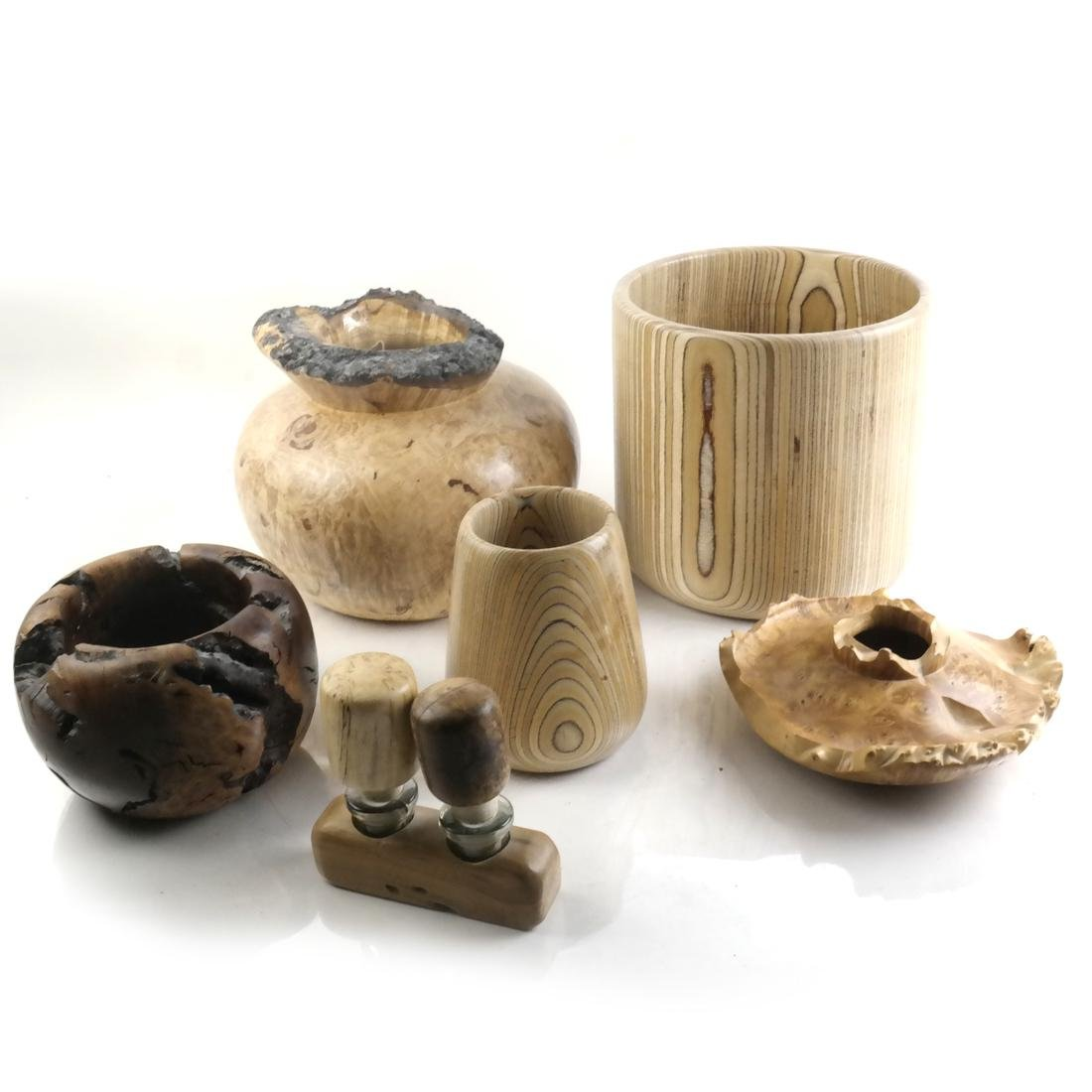 Contemporary Craft, Group of Turned Exotic Wood Bowls